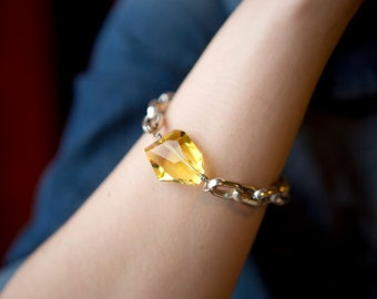 Statement Jewelry Chunky Silver Chain Bracelet with an extra large Sun Drenched Yellow Crystal and a Toggle Clasp
