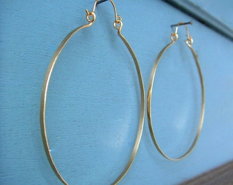 "Big Gold Hammered Hoops 3"" Large Gold Hinged Hoop Earrings Horseshoe Hoops Circle Earrings Gold Statement Wire Jewelry"