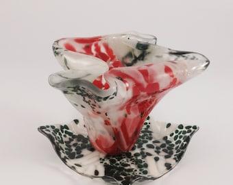 Green, orange and creme fused glass 4.5 in tall ikebana vase