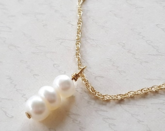 Triple Pearl Necklace, Gold Filled Necklace, Gemstone Necklace, White Pearls, Black Pearls, Gold Pearls, Made in USA