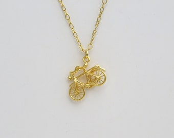 Bicycle necklace gold, Gold bike pendant