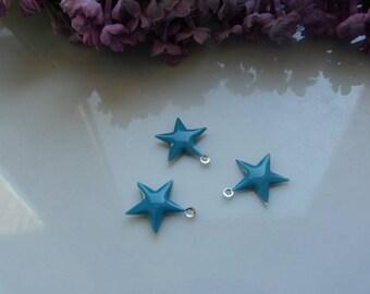 Star 15mm turquoise enamel pendant charm