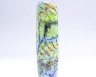 Handmade Lampwork Glass Focal Bead (12824) -- Organic Pattern with Green, Yellow & Blue