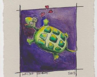Turtles In Love - Original Watercolor
