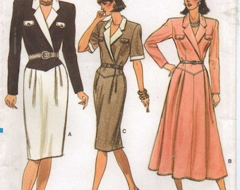 80s Womens Mock Wrap Dress with Slim or Full Skirt Vogue Sewing Pattern 9708 Size 12 14 16 Bust 34 36 38 UnCut Vintage Sewing Patterns