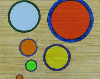 CIRCLES SIX - Original Acrylic Painting Framed 16X16 in. No. 727