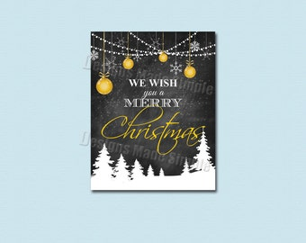 We Wish You a Merry Christmas 8x10 or 11x14 Snowy Christmas Wall Art - Instant Download