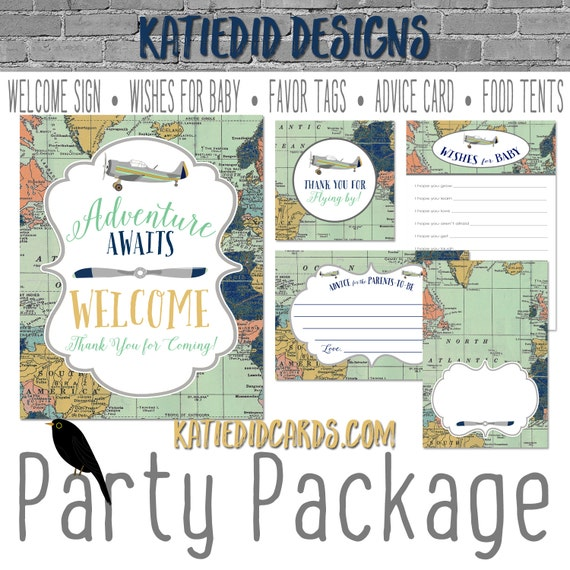 Travel Themed oh the places you'll go baby shower Adventure Awaits airplane world map party package welcome sign tag 12124 Katiedid Designs