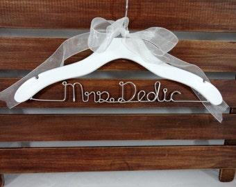 Bride Hanger - Wedding Name Hanger - Wood Hanger - White Wedding Hanger - Dress Hangers - Custom Wedding - Wedding Photo Prop - Shower Gift