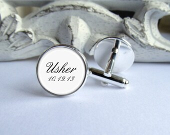 Wedding Cufflinks, Usher Cufflinks, Personalized Cufflinks With Date
