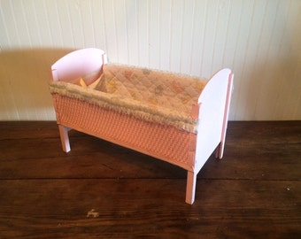 Vintage Baby Doll Crib Pink Wicker Doll Bed The Berry Twins