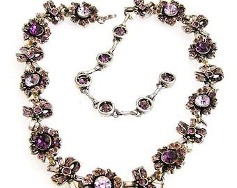 Hollycraft 1956 Amethyst Rhinestone Necklace