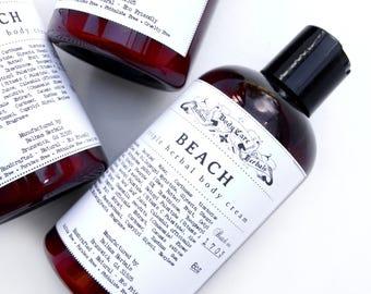 Body Lotion | BEACH Triple Herbal Body Cream, Herbal Lotion, Handcrafted Lotion, Natural Lotion, Natural Skin Cream, Body Butter