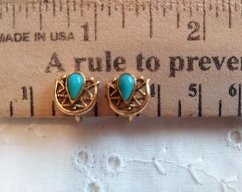 Clip Vintage bleu turquoise Boucles d'oreilles en métal doré