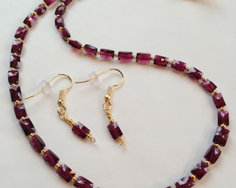 Red Rhodolite Garnet Necklace and Earrings OOAK Gift For Her Gemstone Jewelry