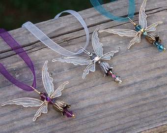 NEW! Fairy Necklace- Birthstones & 28 More Swarovski Colors - Silver or gold toned Fairy