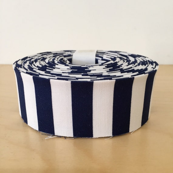 "Riley Blake Stripe Navy Blue and White striped Quilt binding- 1.25"" double-fold cotton"