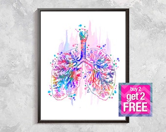 bronchi and lungs print,  bronchi and lungs art, rainbow bronchi, Anatomy print, Medical Art, Anatomy Poster, Medicine art digital download