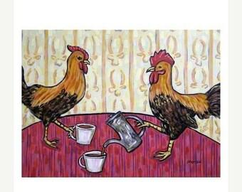 25% off chicken art - Chicken, rooster, hen, coffee art, chicken print,  art print, modern , folk, coffee print, cafe decor - chicken gifts