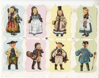 Vintage Children in Costumes Die-cut Scrap Sheet of 8 New, Old Stock Germany EAS 3183D Scrapbooks Ornaments Crafts 1950-1970s