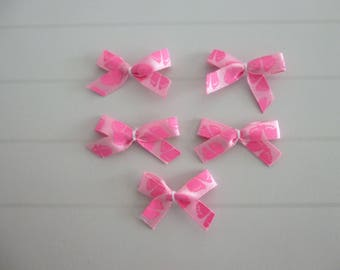 Set of 5 bows appliques pink small baby foot