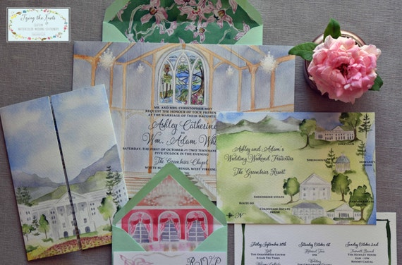 Wedding invitation suite watercolor invitations greenbrier wedding invitation suite watercolor invitations greenbrier resort wedding golf course wedding resort wedding stopboris Choice Image