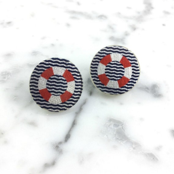 Resin earrings, color stud, navy theme, life buoy, red white, navy blue, unique, handmade, sold, earring, hypoallergenic stud