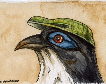 The Delalande's Coua ~~ No 6 of 100 series- ~ signed watercolor print
