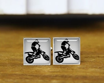 motocross cufflinks, motorbike, motocross rider, personalized cufflinks, custom wedding cufflinks, round, square cufflinks, tie clips,  set