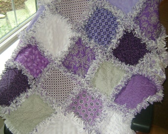 Pretty purple and lavender Rag quilt.  Baby to adult comtemporary style