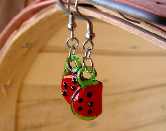 Little Lampwork Watermelon Slice Earrings - Sassy Watermelon Slices