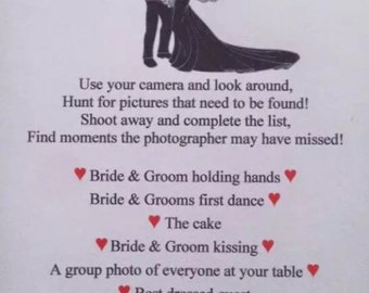 Wedding I-Spy cards, Camera Game pack of 12