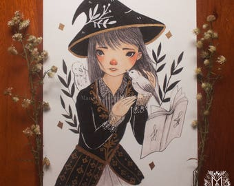 """Jane Longfellow  4""""X6"""" Witch Art Print with Gold Ink Embellishment"""