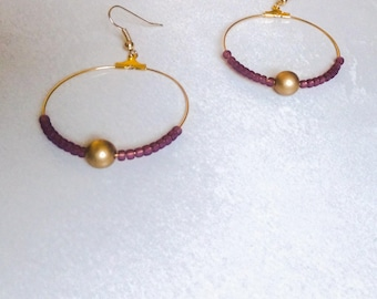 Hoop earrings plum earrings gold