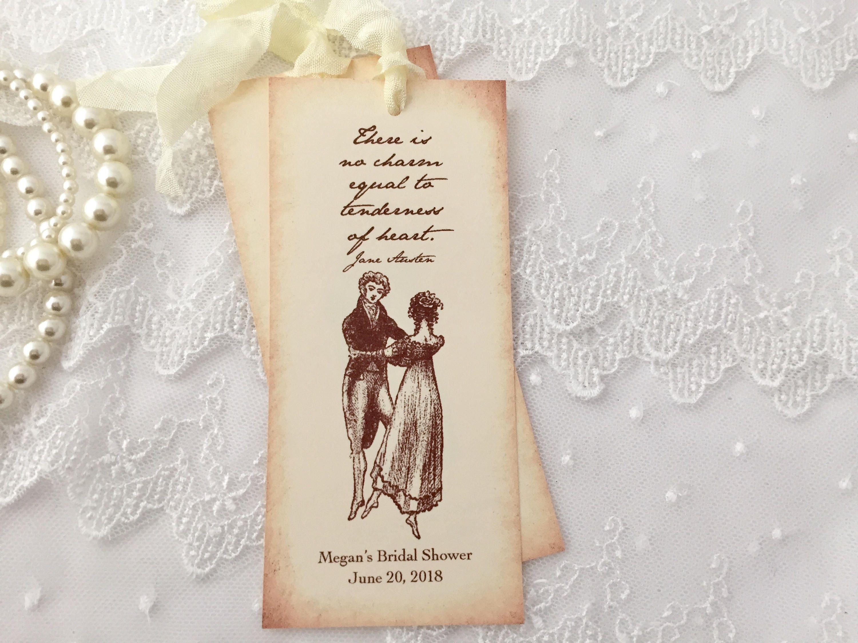 Jane Austen Bookmarks Favor Bridal Shower Bookmarks