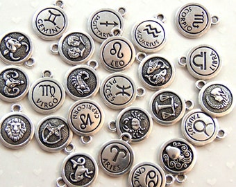 TierraCast Zodiac Sign Charms, Double Sided Charms, Zodiac Symbol Charms,You Pick Your Sign, Fine Silver Plated Lead Free Pewter, 7612