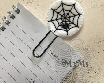 Halloween Felt Planner clip, Spider Web Feltie bookmark, planner organizer, Halloween party, Ghost party decor, Feltie planner bookmark,
