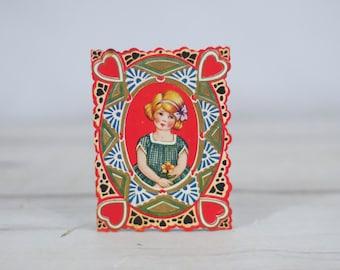 Vintage Valentines Card- Girl Valentine Flower Whitney Made OGS