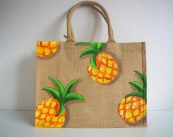 sac shopping XL, sac de plage, peint à la main, sac ananas dorés, sac jute naturelle, sac  vacances, jute ananas, sac résistant, sac courses