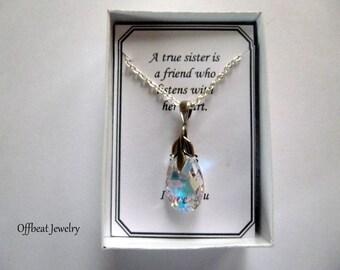 Clearance Sale: Swarovski Crystal Necklace, Sister's Gift, Daughter Necklace, Swarovski Crystal Necklace, Charm Necklace,