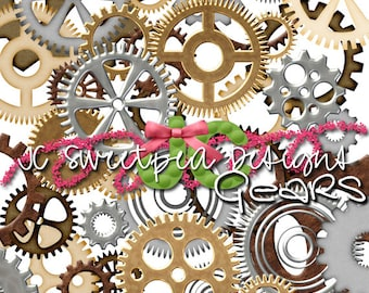 Gear Steampunk Clip Art Personal and Commercial Use Digital Scrapbooking - INSTANT DOWNLOAD