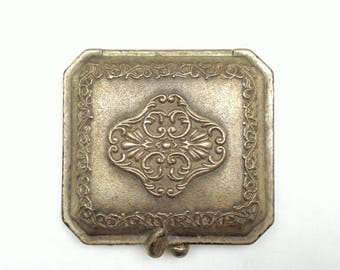 Vintage,  Victorian Style, Art Nouveau, Pewter Compact with Mirror and 2 Lancome Powder Puffs, Purse Accessories