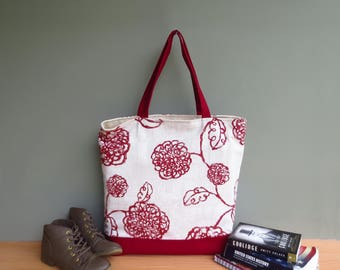 Extra Large Tote in Red Scribble Flowers, Oversized Modern Floral Shoulder Tote Bag, Waxed Canvas Bottom Tote, Beach Bag, Summer Cruise Tote