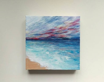 Sunset painting, seaside painting, sunset art, blue red sky, small painting, 20x20cm,abstract art, blue abstract painting