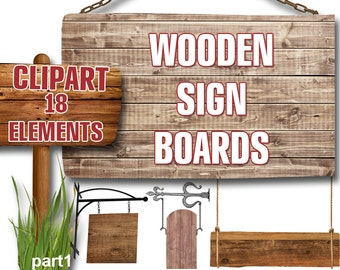 Digital Wooden Sign Boards Clipart,  printable Digital Scrapbooking, Wood Clip art, 18 elements signboards collage, Instant Download, clip 4
