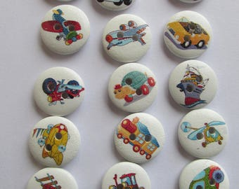 Toys wooden buttons on white background - 1cm set of 15