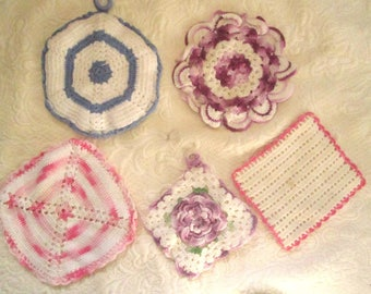5 Hand Made Vintage Pot Holders. Crochet, Hostess Gift