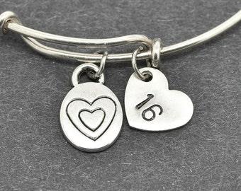 Heart Bangle, Love Heart, Sterling Silver Bangle, Heart Bracelet, Bridesmaid Gift, Personalized Bracelet, Charm Bangle, Initial Bracelet