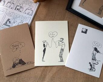 Comics Postcards Letterpress  / Handmade Postcards / comics from Greece / illustrator/ comic artist / comics /love / valentine' s day