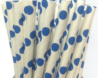 2.85 US Shipping -Bright Blue Paper Straws - Blue Straws - Blue Cake Pop Sticks - Drinking Straws